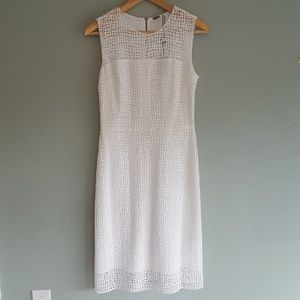 New! Elie Tahari White Sheath Dress Woven Overlay